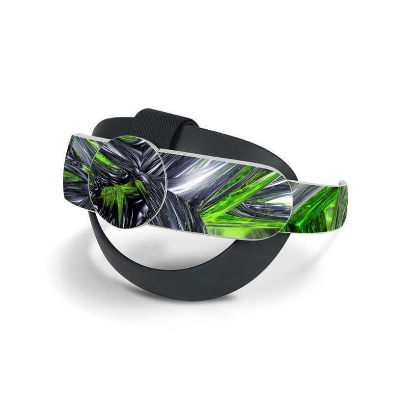 Oculus Quest 2 Elite Strap Skin design of Green, Tree, Leaf, Plant, Grass, Terrestrial plant, Botany, Woody plant, Arecales, Vascular plant with green, gray, black colors