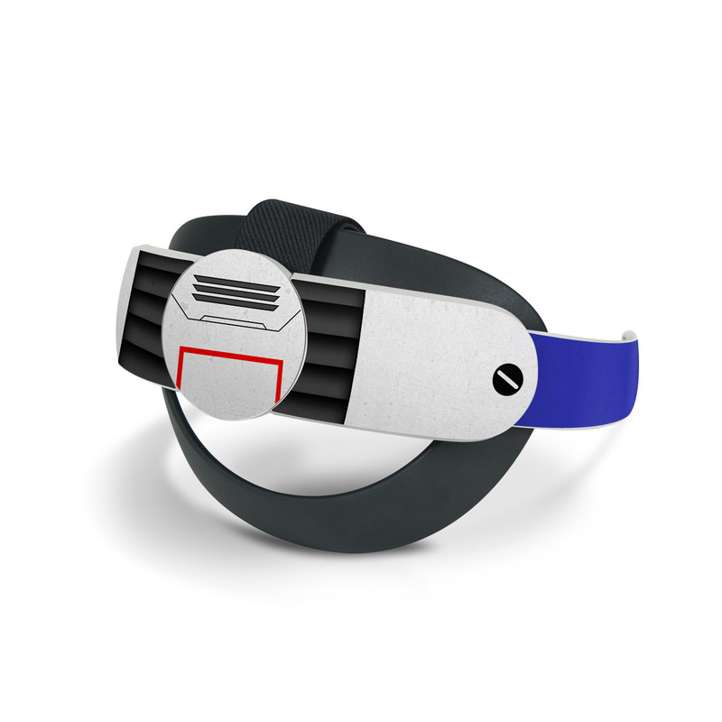 Oculus Quest 2 Elite Strap Skin design of Floppy disk, Technology, Electric blue, Fictional character with white, blue, black, gray colors