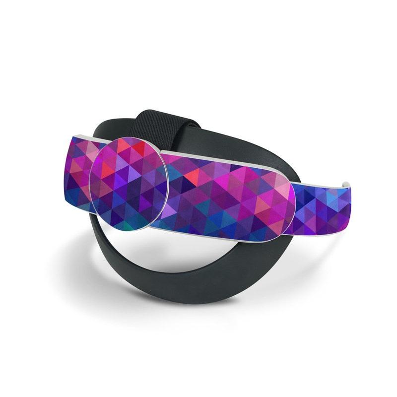 Oculus Quest 2 Elite Strap Skin design of Purple, Violet, Pattern, Blue, Magenta, Triangle, Line, Design, Graphic design, Symmetry with blue, purple, green, red, pink colors