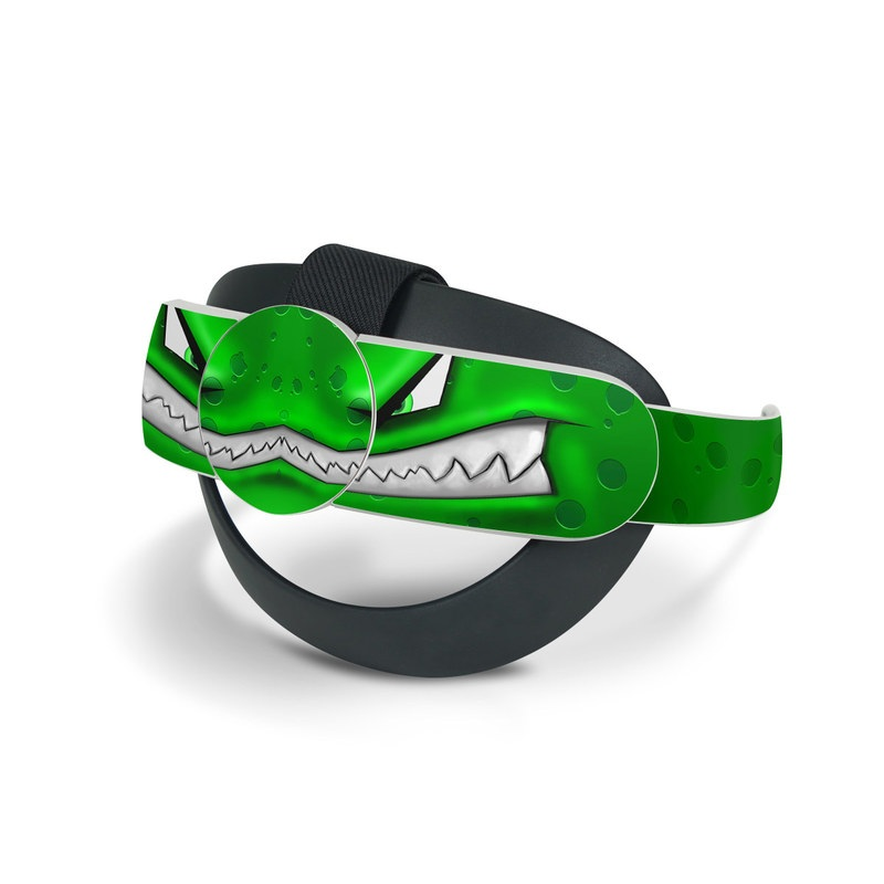 Oculus Quest 2 Elite Strap Skin design of Green, Font, Animation, Logo, Graphics, Games with green, white colors