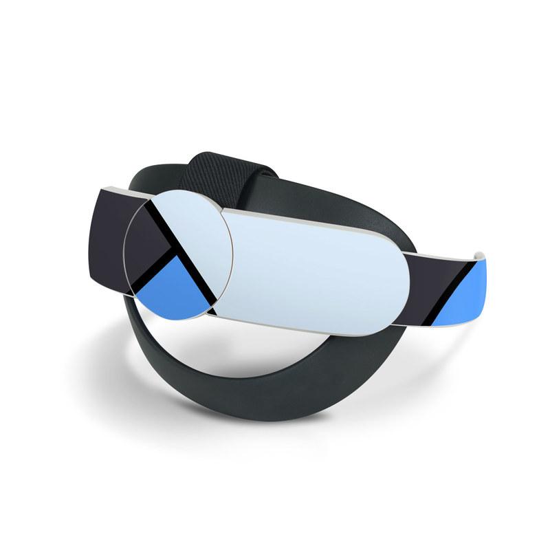 Oculus Quest 2 Elite Strap Skin design of Blue, Line, Cobalt blue, Triangle, Azure, Electric blue, Parallel, Symmetry, Font with blue, gray, black colors
