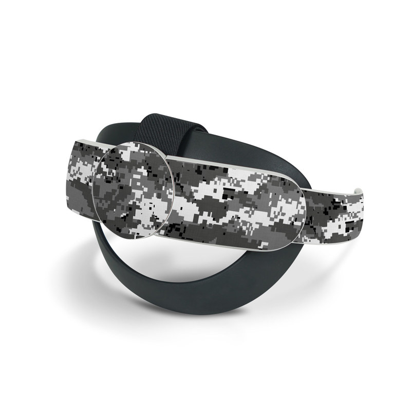Oculus Quest 2 Elite Strap Skin design of Military camouflage, Pattern, Camouflage, Design, Uniform, Metal, Black-and-white with black, gray colors