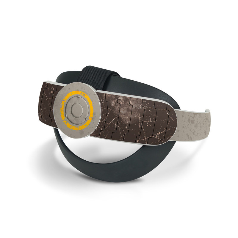 Oculus Quest 2 Elite Strap Skin design of Yellow, Wall, Line, Orange, Design, Concrete, Font, Architecture, Parallel, Wood with gray, yellow, red, black colors