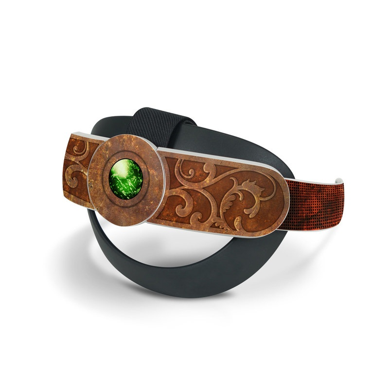 Oculus Quest 2 Elite Strap Skin design with brown, red, yellow, green, orange colors