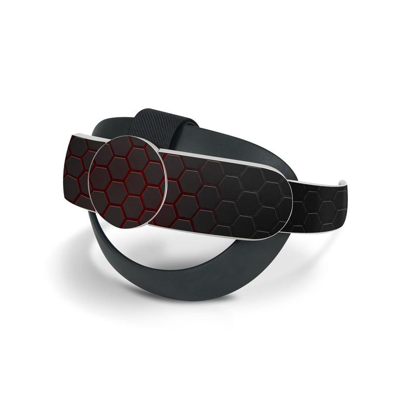Oculus Quest 2 Elite Strap Skin design of Black, Pattern, Metal, Design, Mesh, Carbon, Space, Wallpaper with black, red colors