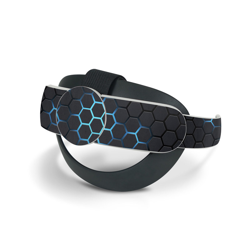 Oculus Quest 2 Elite Strap Skin design of Pattern, Water, Design, Circle, Metal, Mesh, Sphere, Symmetry with black, gray, blue colors