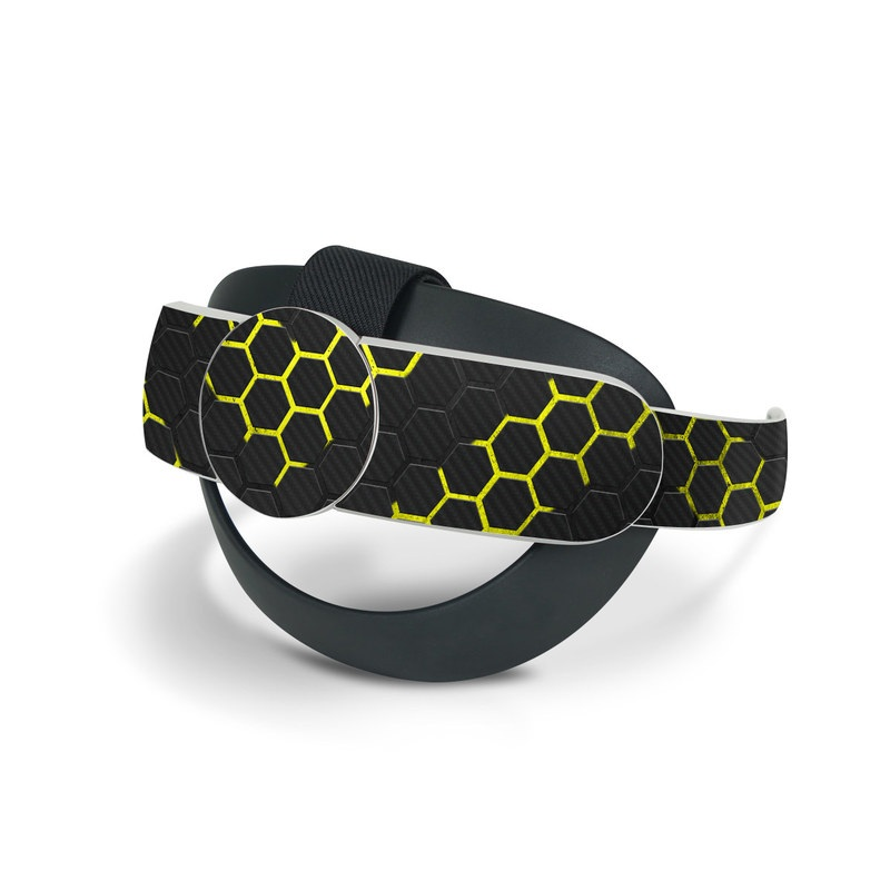 Oculus Quest 2 Elite Strap Skin design of Black, Pattern, Yellow, Mesh, Net, Chain-link fencing, Design, Metal with black, gray, yellow colors