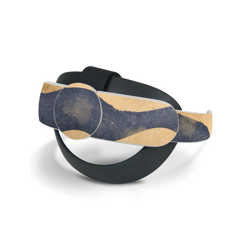 Oculus Quest 2 Elite Strap Skin design of Art, Painting, Pattern, Font, Landscape, Dune, Illustration, Aeolian landform, Sand, Visual arts with blue, brown colors