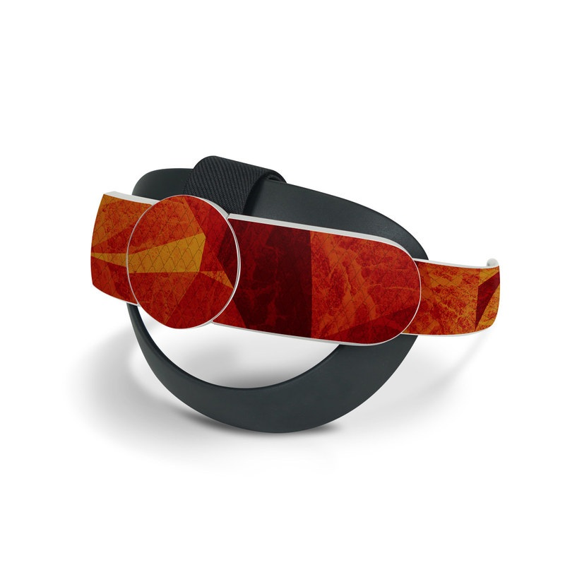 Oculus Quest 2 Elite Strap Skin design of Orange, Red, Yellow, Triangle, Pattern, Amber, Design, Art, Visual arts, Modern art with black, orange, yellow colors