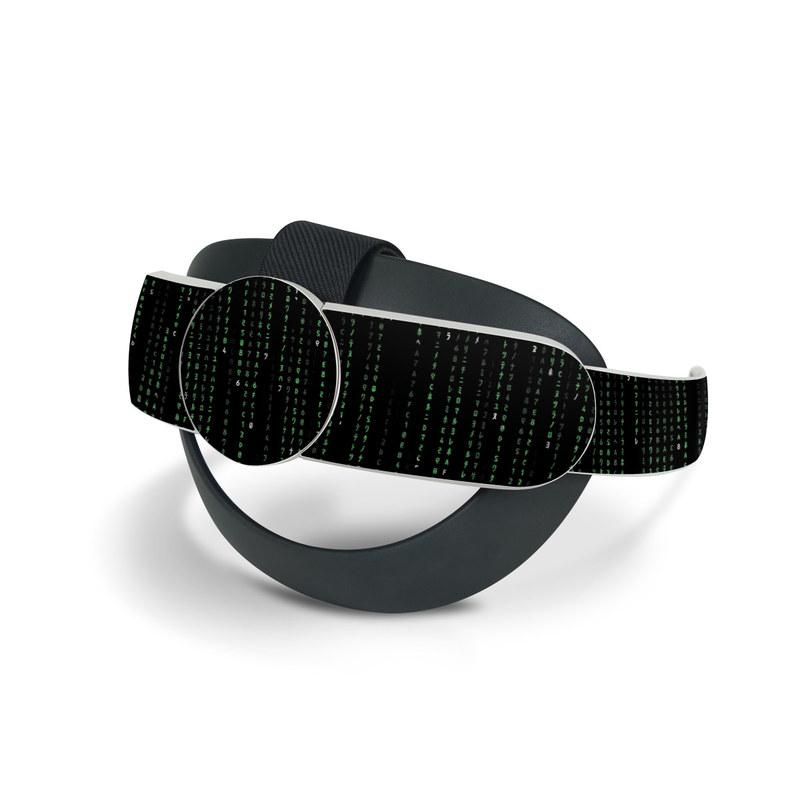 Oculus Quest 2 Elite Strap Skin design of Green, Black, Pattern, Symmetry with black colors