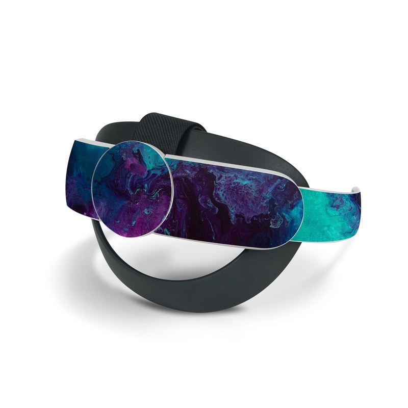 Oculus Quest 2 Elite Strap Skin design of Blue, Purple, Violet, Water, Turquoise, Aqua, Pink, Magenta, Teal, Electric blue with blue, purple, black colors