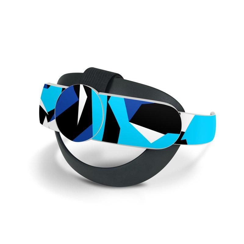 Oculus Quest 2 Elite Strap Skin design of Blue, Pattern, Turquoise, Cobalt blue, Teal, Design, Electric blue, Graphic design, Triangle, Font with blue, white, black colors