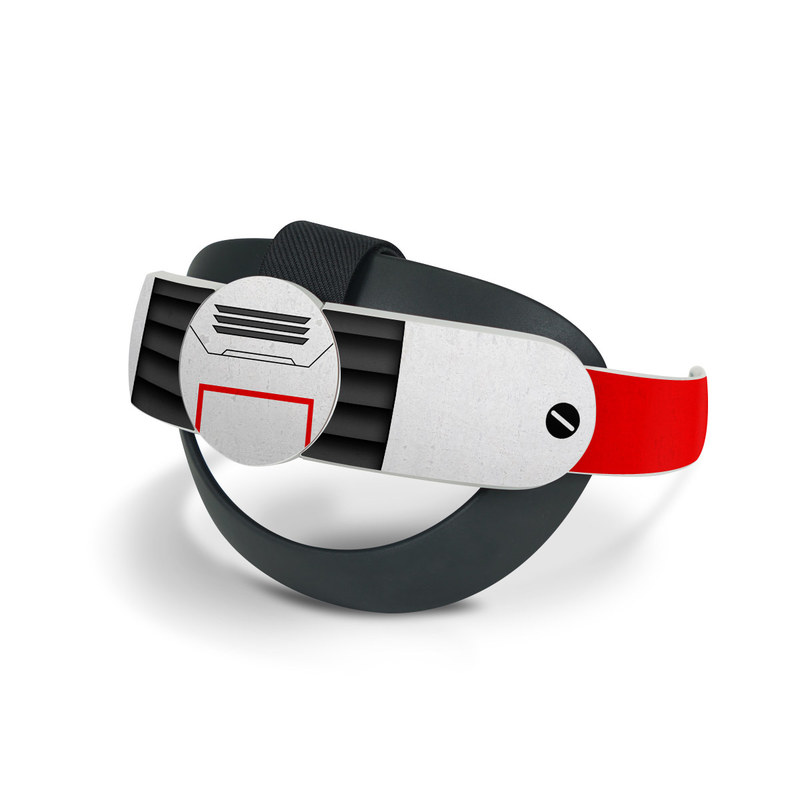 Oculus Quest 2 Elite Strap Skin design of Floppy disk, Technology, Electric red, Fictional character with white, red, black, gray colors