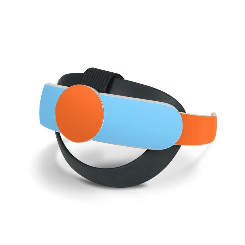 Oculus Quest 2 Elite Strap Skin design of Line with blue, orange, black colors