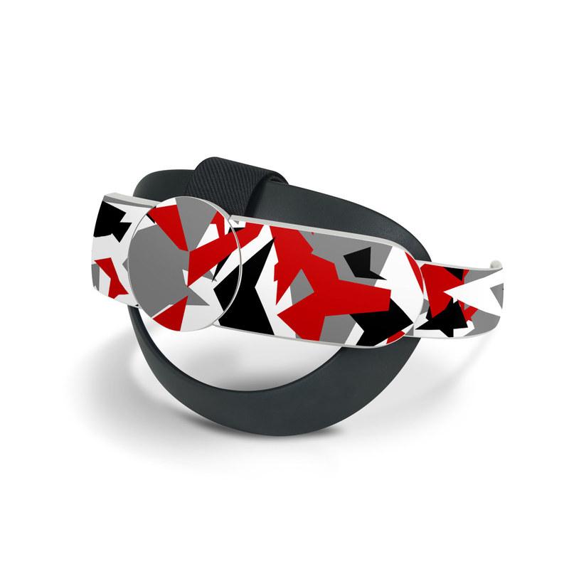 Oculus Quest 2 Elite Strap Skin design of Red, Pattern, Font, Design, Textile, Carmine, Illustration, Flag, Crowd with red, white, black, gray colors