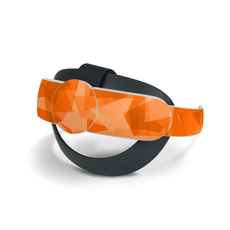 Oculus Quest 2 Elite Strap Skin design of Orange, Pattern, Peach, Line, Design, Triangle with orange colors