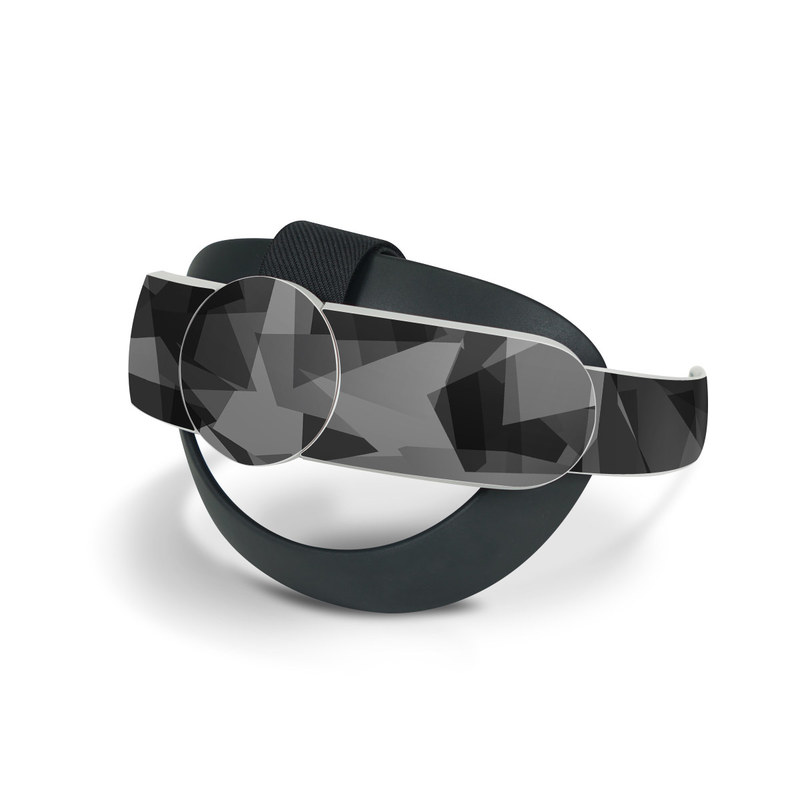 Oculus Quest 2 Elite Strap Skin design of Black, Pattern, Triangle, Black-and-white, Monochrome, Grey, Design, Line, Architecture, Monochrome photography with black, gray colors