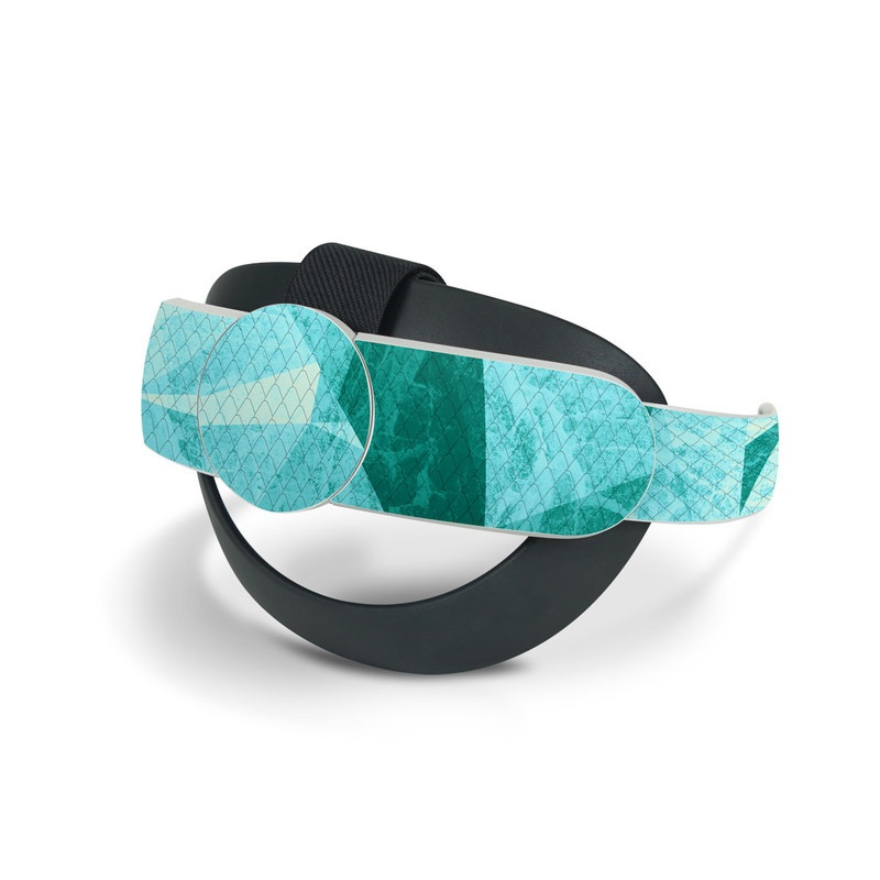 Oculus Quest 2 Elite Strap Skin design of Aqua, Blue, Pattern, Turquoise, Illustration, Teal, Design, Line, Graphic design with blue colors