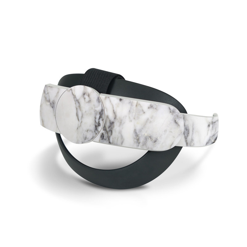 Oculus Quest 2 Elite Strap Skin design of White, Geological phenomenon, Marble, Black-and-white, Freezing with white, black, gray colors