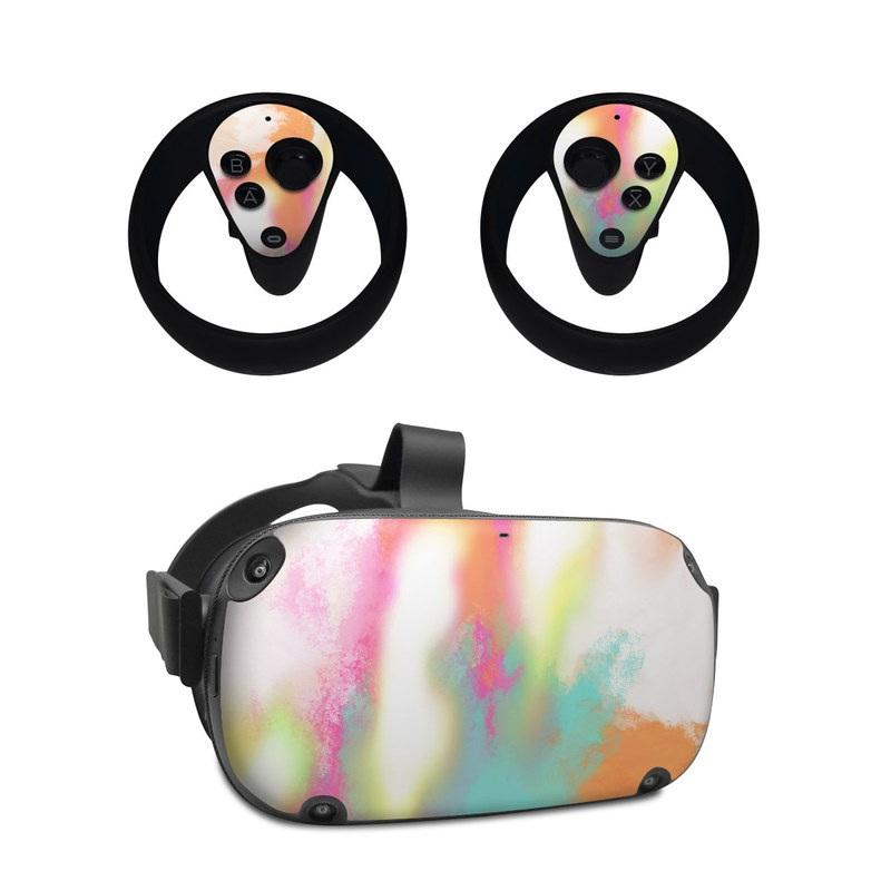Oculus Quest Skin design of Sky, Yellow, Orange, Pink, Art, Illustration, Visual Arts, Pattern, Colorfulness, Watercolor Paint with white, pink, orange, yellow, blue, brown colors