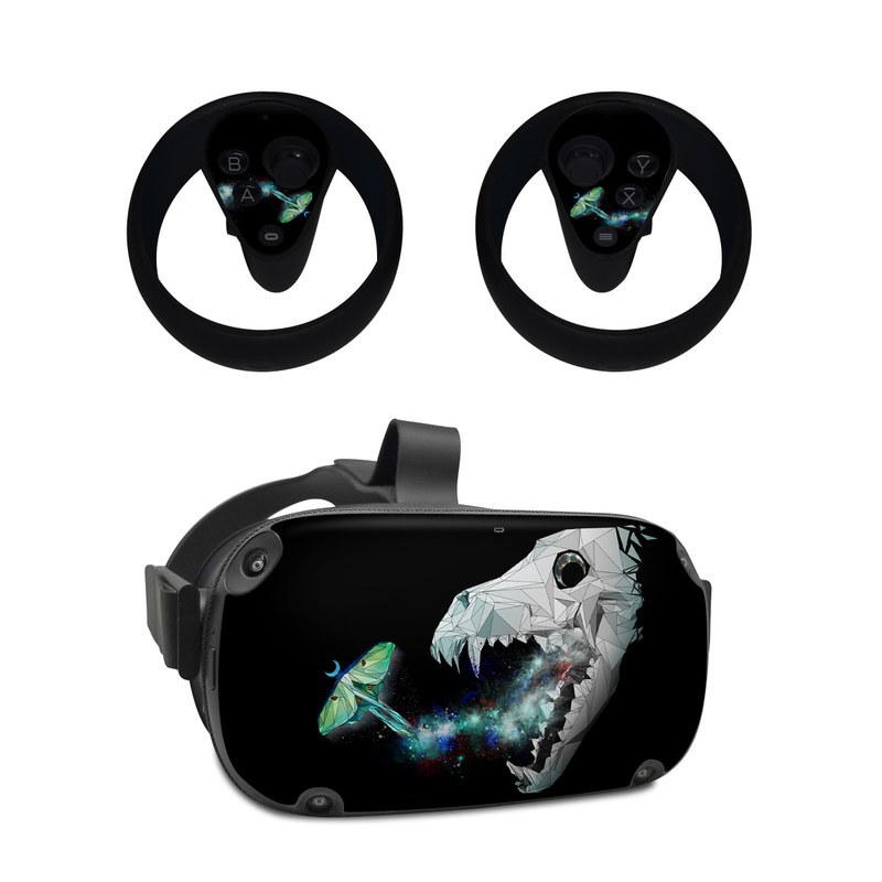 Oculus Quest Skin design of Illustration, Jaw, Animation, Graphic design, Fictional character, Space, Cg artwork, Graphics, Anglerfish, Art with black, white, green, blue, gray colors