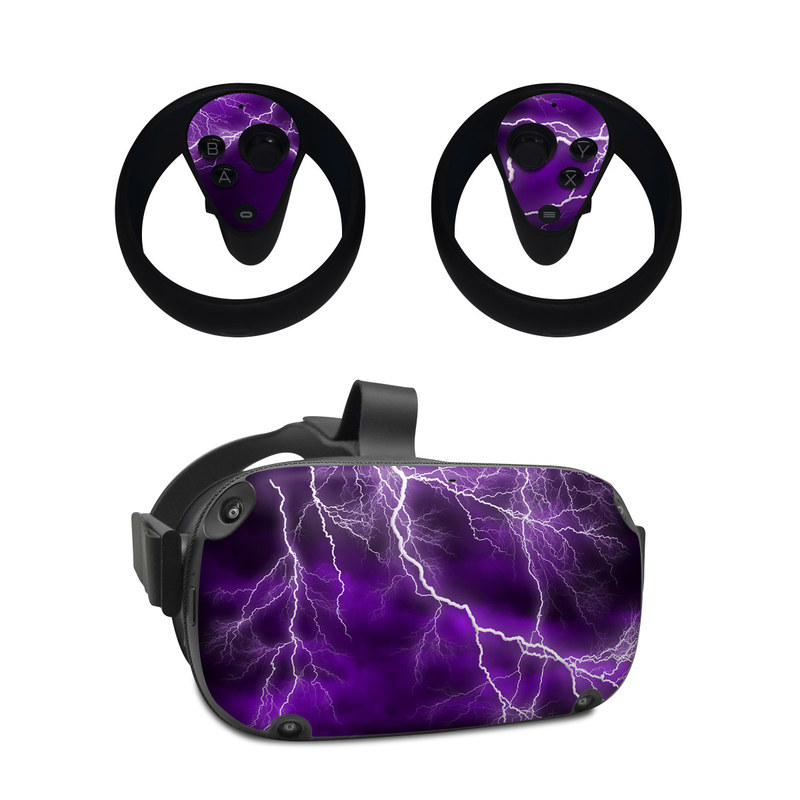Oculus Quest Skin design of Thunder, Lightning, Thunderstorm, Sky, Nature, Purple, Violet, Atmosphere, Storm, Electric blue with purple, black, white colors