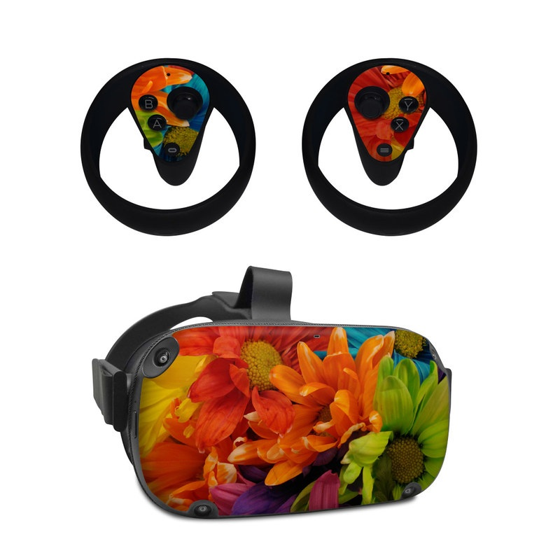 Oculus Quest Skin design of Flower, Petal, Orange, Cut flowers, Yellow, Plant, Bouquet, Floral design, Flowering plant, Gerbera with red, green, black, blue colors