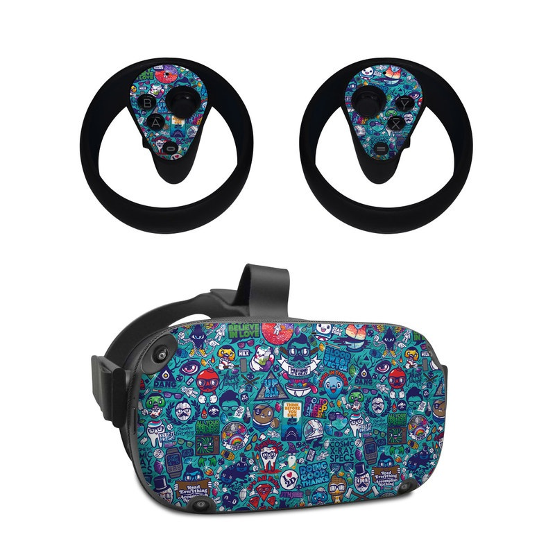 Oculus Quest Skin design of Art, Visual arts, Illustration, Graphic design, Psychedelic art with blue, black, gray, red, green colors
