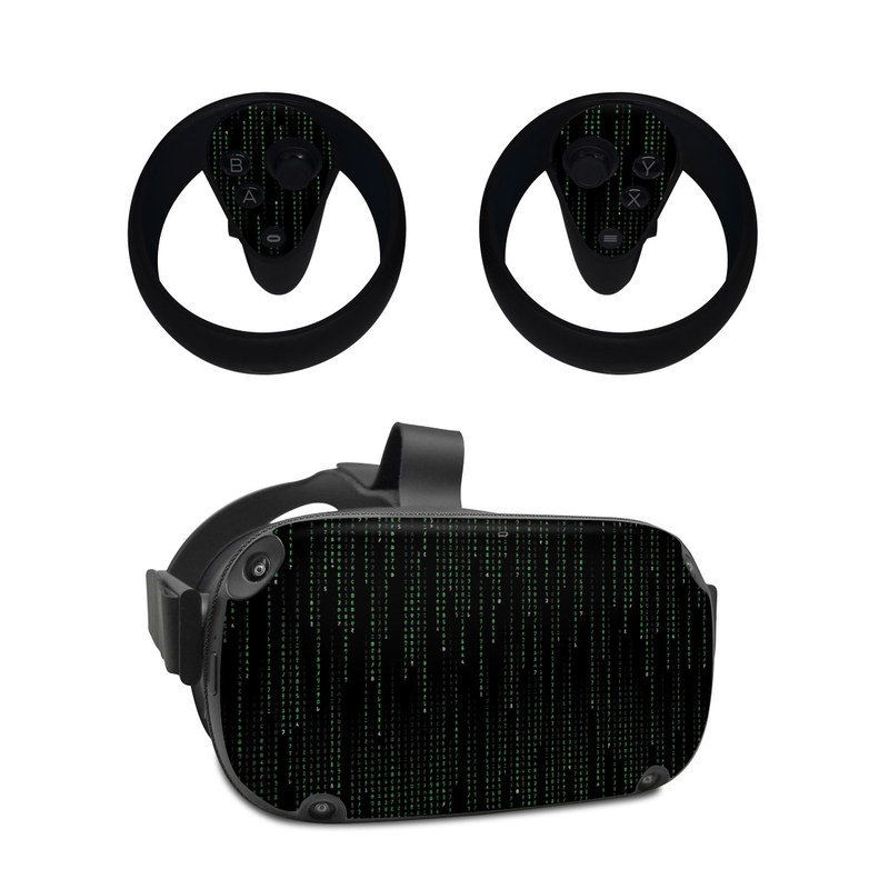 Oculus Quest Skin design of Green, Black, Pattern, Symmetry with black colors