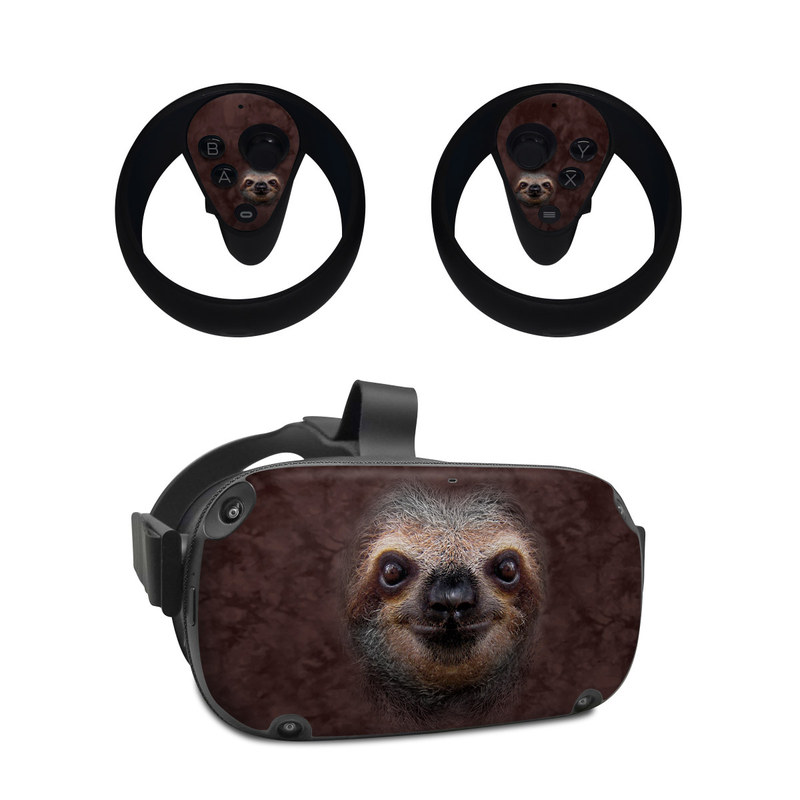 Oculus Quest Skin design of Three-toed sloth, Sloth, Snout, Head, Close-up, Nose, Two-toed sloth, Terrestrial animal, Eye, Whiskers with black, gray, red, green colors