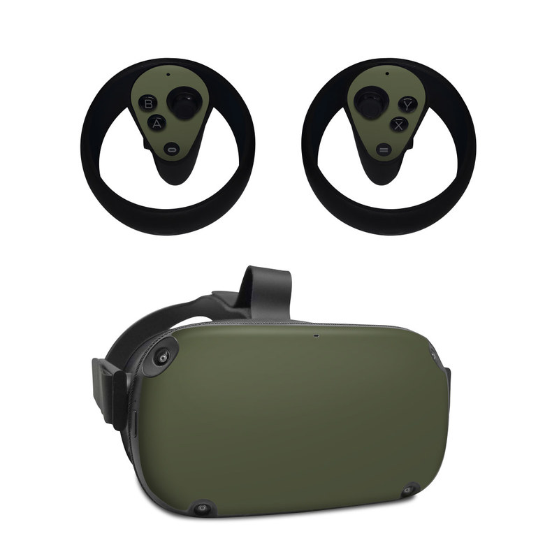 Oculus Quest Skin design of Green, Brown, Text, Yellow, Grass, Font, Pattern, Beige with green colors