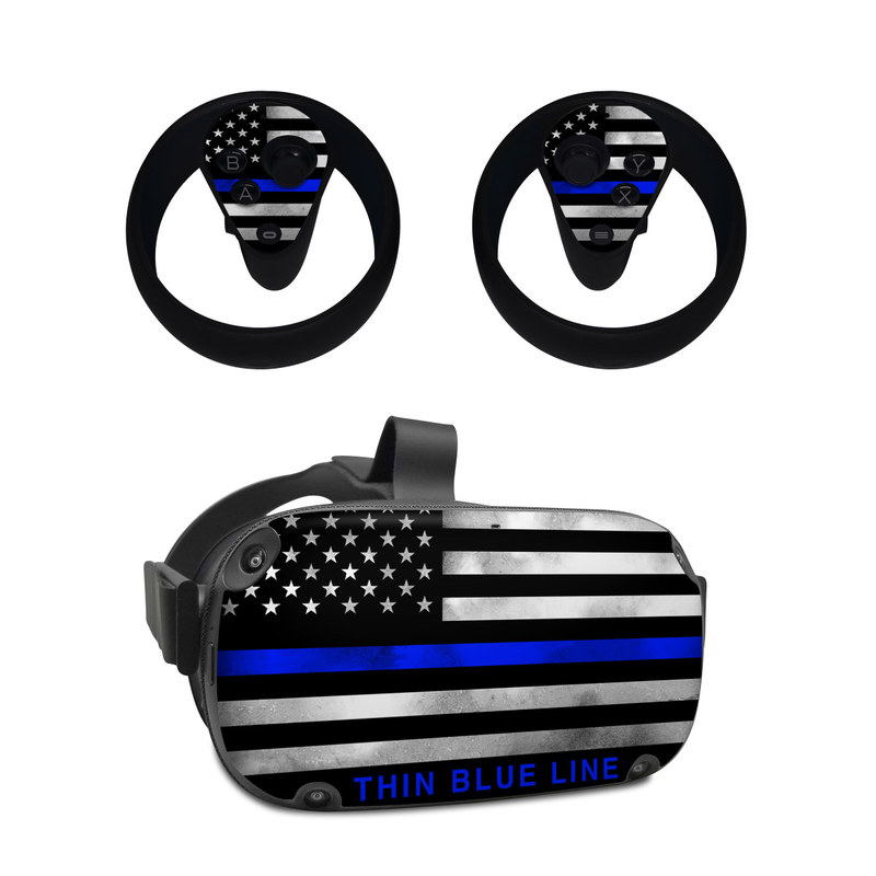 Oculus Quest Skin design of Line, Flag, Text, Flag of the united states, Font, Parallel, Symmetry, Black-and-white, Pattern, Graphics with black, white, gray, blue colors