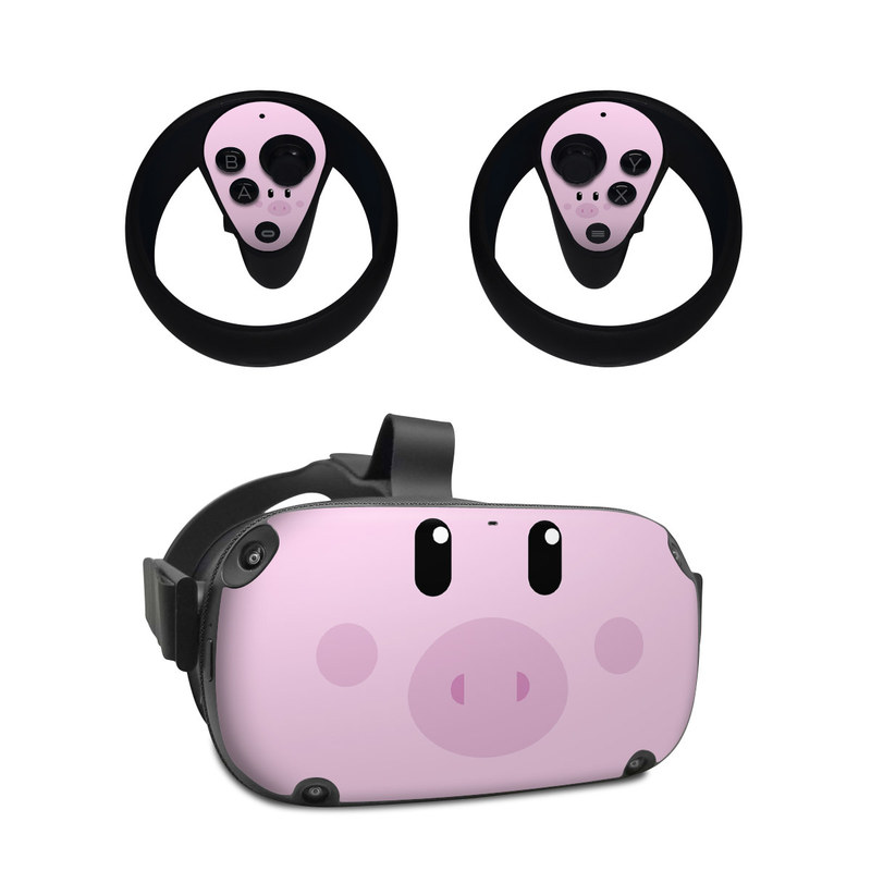 Oculus Quest Skin design of Pink, Cartoon, Violet, Nose, Purple, Snout, Suidae, Material property, Illustration, Animation with pink, black, white colors