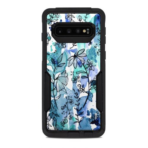 Blue Ink Floral OtterBox Commuter Galaxy S10 Case Skin