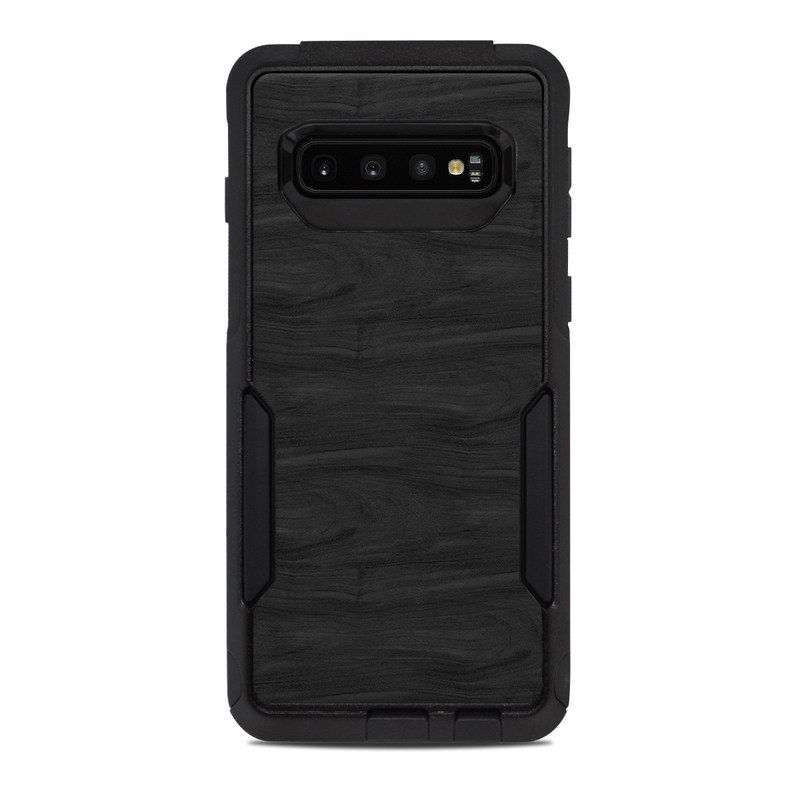 OtterBox Commuter Galaxy S10 Case Skin design of Black, Brown, Wood, Grey, Flooring, Floor, Laminate flooring, Wood flooring with black colors