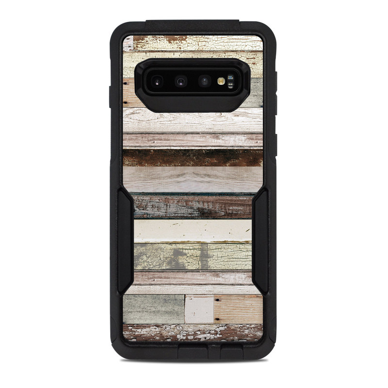 OtterBox Commuter Galaxy S10 Case Skin design of Wood, Wall, Plank, Line, Lumber, Wood stain, Beige, Parallel, Hardwood, Pattern with brown, white, gray, yellow colors