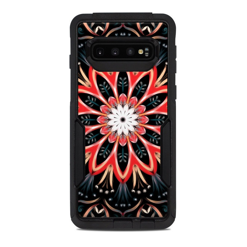 OtterBox Commuter Galaxy S10 Case Skin design of Pattern, Psychedelic art, Symmetry, Design, Art, Visual arts, Textile, Kaleidoscope, Fractal art, Ornament with black, red, white, blue, yellow, orange colors
