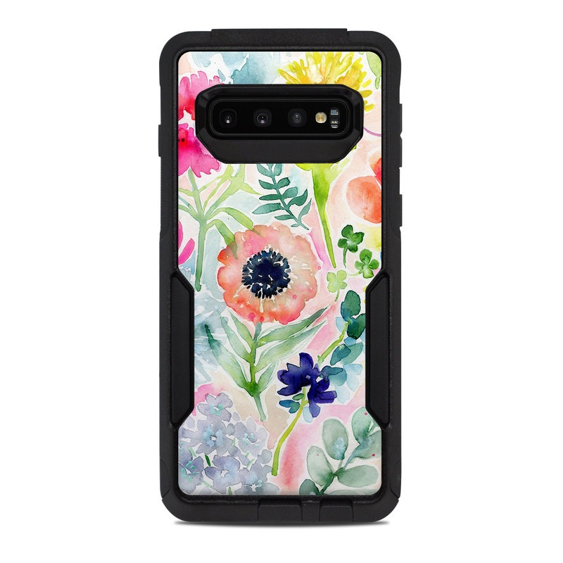 OtterBox Commuter Galaxy S10 Case Skin design of Flower, Watercolor paint, Plant, Flowering plant, Pattern, Floral design, Botany, Petal, Wildflower, Design with green, pink, yellow, orange, blue, red, purple colors