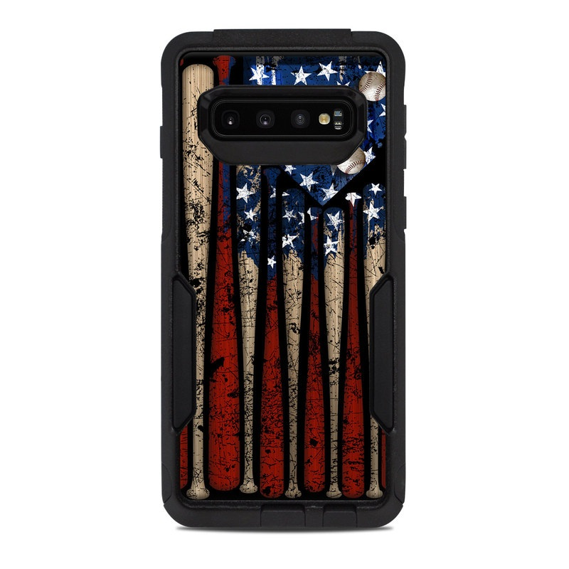 OtterBox Commuter Galaxy S10 Case Skin design of Baseball bat, Baseball equipment with black, red, gray, green, blue colors