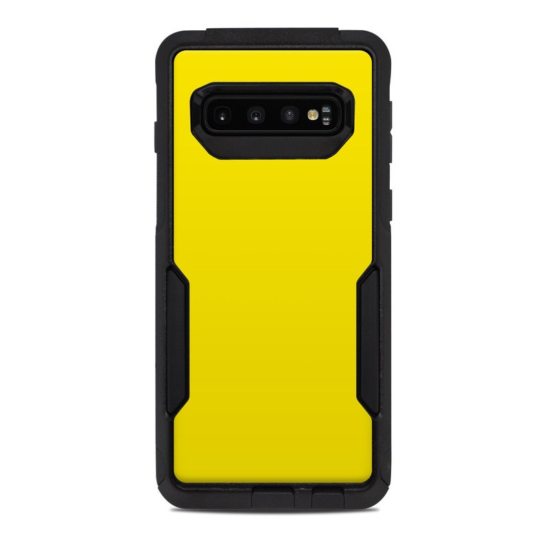 OtterBox Commuter Galaxy S10 Case Skin design of Green, Yellow, Orange, Text, Font with yellow colors