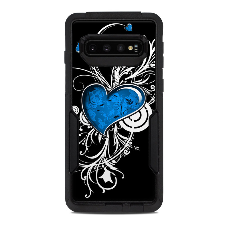 OtterBox Commuter Galaxy S10 Case Skin design of Graphic design, Heart, Design, Graphics, Illustration, Pattern, Plant, Visual arts, Art with black, gray, blue, white colors