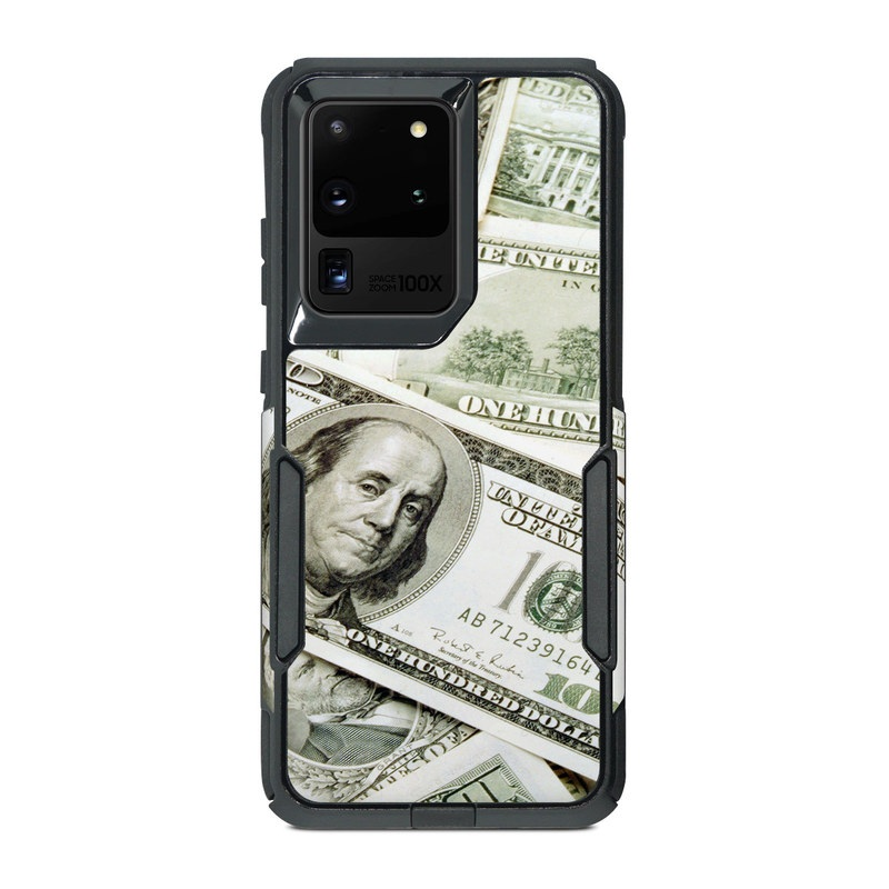 OtterBox Commuter Galaxy S20 Ultra Case Skin design of Money, Cash, Currency, Banknote, Dollar, Saving, Money handling, Paper, Stock photography, Paper product with green, white, black, gray colors
