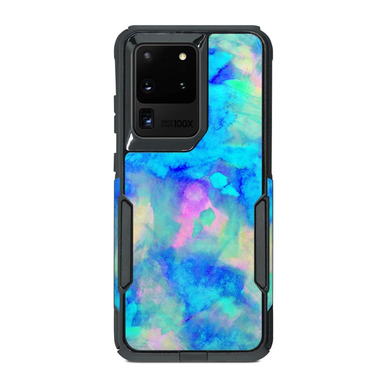 OtterBox Commuter Galaxy S20 Ultra Case Skin design of Blue, Turquoise, Aqua, Pattern, Dye, Design, Sky, Electric blue, Art, Watercolor paint with blue, purple colors