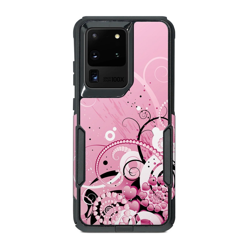 OtterBox Commuter Galaxy S20 Ultra Case Skin design of Pink, Floral design, Graphic design, Text, Design, Flower Arranging, Pattern, Illustration, Flower, Floristry with pink, gray, black, white, purple, red colors