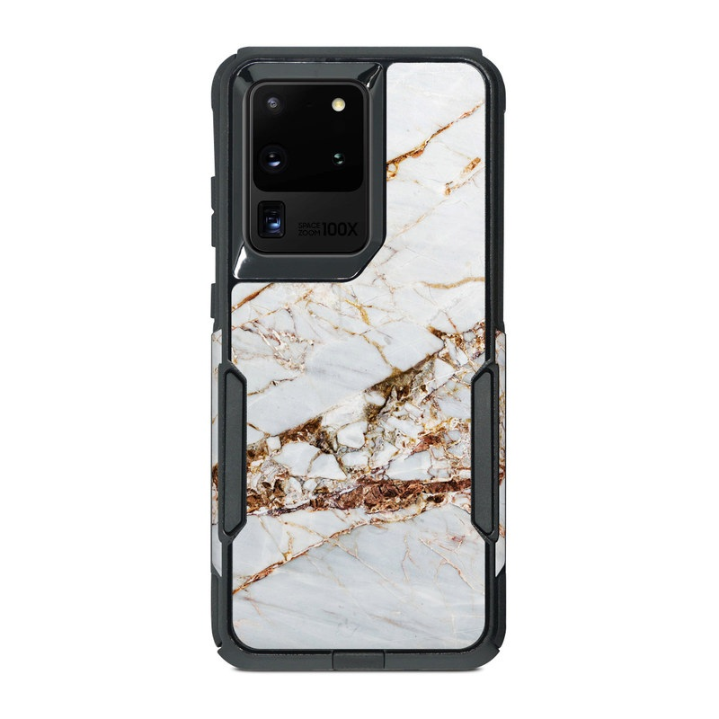 OtterBox Commuter Galaxy S20 Ultra Case Skin design of White, Branch, Twig, Beige, Marble, Plant, Tile with white, gray, yellow colors