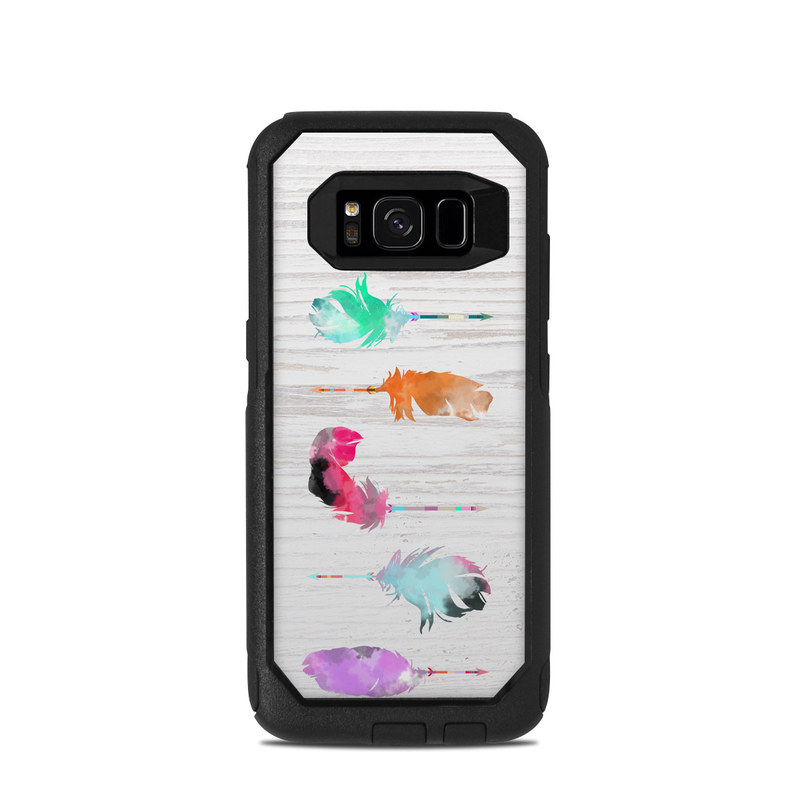 OtterBox Commuter Galaxy S8 Case Skin design of Pink, Watercolor paint, Illustration, Feather, Design, Art, Painting, Graphic design, Visual arts, Drawing with white, orange, red, blue, pink, purple, green colors