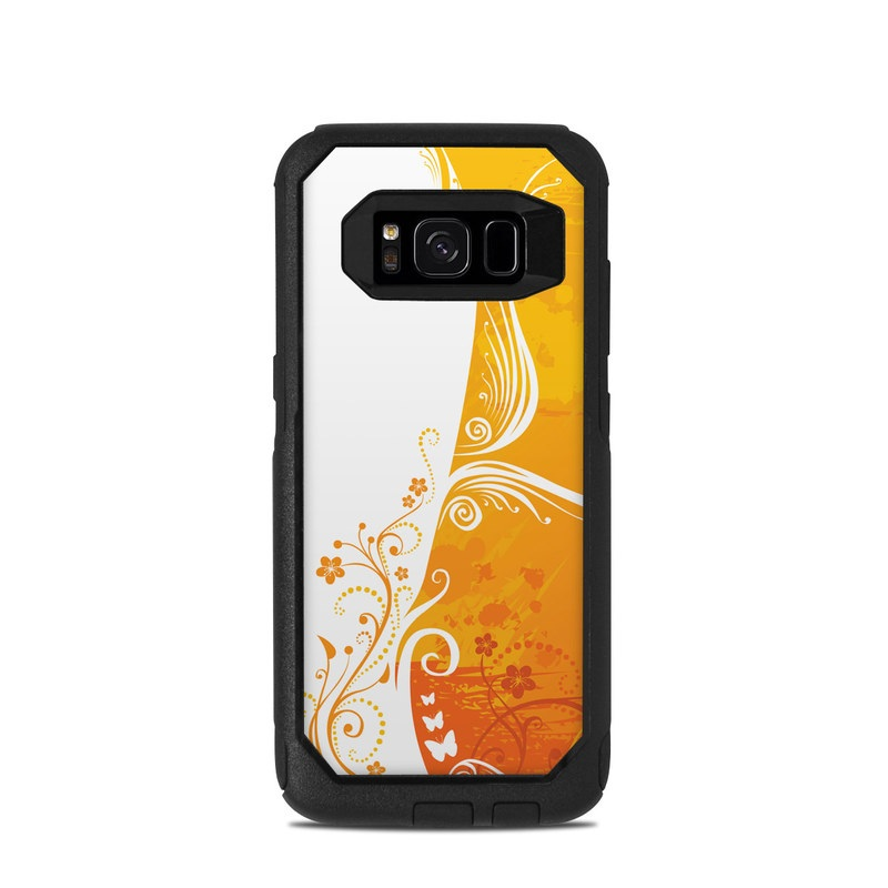 OtterBox Commuter Galaxy S8 Case Skin design of Orange, Yellow, Pattern, Amber, Design, Ornament, Floral design, Graphics, Graphic design, Visual arts with orange, white, red, pink, yellow colors