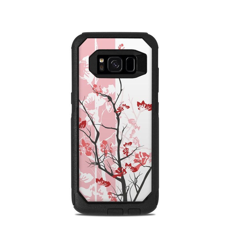 OtterBox Commuter Galaxy S8 Case Skin design of Branch, Red, Flower, Plant, Tree, Twig, Blossom, Botany, Pink, Spring with white, pink, gray, red, black colors