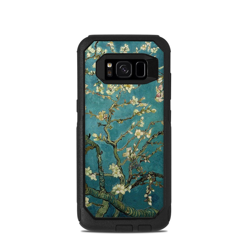 OtterBox Commuter Galaxy S8 Case Skin design of Tree, Branch, Plant, Flower, Blossom, Spring, Woody plant, Perennial plant with blue, black, gray, green colors