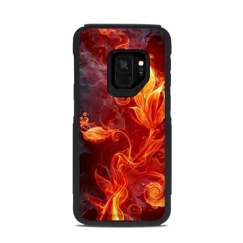 OtterBox Commuter Galaxy S9 Case Skin design of Flame, Fire, Heat, Red, Orange, Fractal art, Graphic design, Geological phenomenon, Design, Organism with black, red, orange colors
